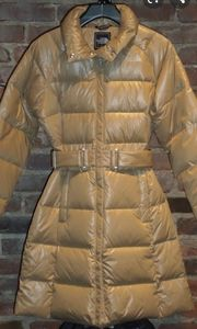 TAN NORTHFACE belted puffer Caroline coat jacket